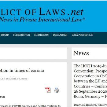 """Международно отвличане на деца по време на covid-19 епидемия – статия на адв. Русинова за """"conflict of laws – views and news in private international law"""""""